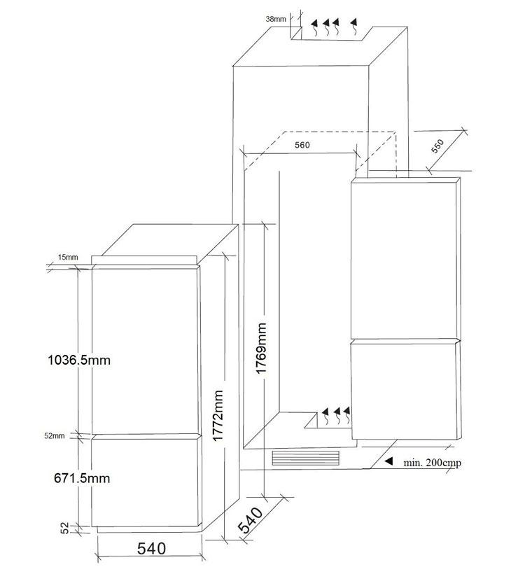 Combina-frigorifica-incorporabila-Pyramis-Elegant-CO-BI34N-grafic